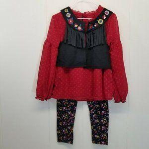 Wonder Nation Outfit 3 Pc Shirt Vest Leggings 4/5